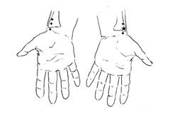 左手の茎状突起の上に右手の示指または中指の指腹部でTLした状態で、筋力検査を行います。