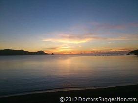 奄美の海の日没の瞬間